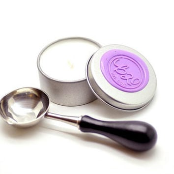 B20 Soy Candle. Sealing Wax Spoon. Bundle Set. For Wax Seal Stamp.