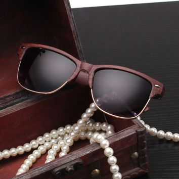 Wood Print Frame Sunglasses