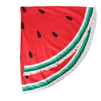 Sweet as a Watermelon Round Tassel Beach Towel