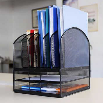 HLC Desktop organizer Mesh Triple Magazine Rack Multi-functional book notebook storage Best for home office organizer