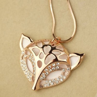 Jewelry Rhinestone Fox Shape Pendant Sweater Necklace = 1842978500