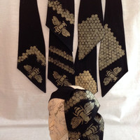 Bees and Honeycomb Ascot Scarf or Tie Up Head Wrap Gold and Black