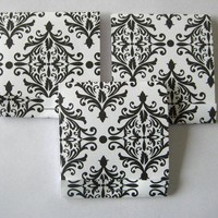 Set of 9 Black and White Damask Flat Matchbook Notebooks