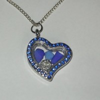 Blue Sea Glass Heart Locket with Sand Dollar