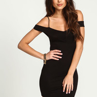 BLACK COLDSHOULDER X BACK JERSEY DRESS