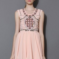 Sequins and Pearly Embellished Pink Chiffon Dress