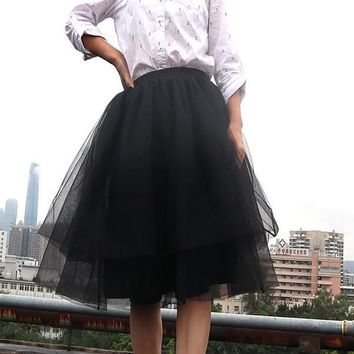 New Black Grenadine Pleated Plus Size Fluffy Puffy Tulle High Waisted Homecoming Party Fashion Tutu Midi Skirt