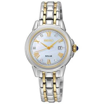 Seiko Ladies Le Grand Solar Sport - Mother of Pearl - 5 Diamonds - Two Tone