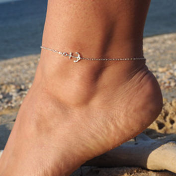 Gold Anchor Anklet w/ Mint Pendant - Delicate Gold Sideways Anchor Ankle Bracelet ( available also in SILVER)