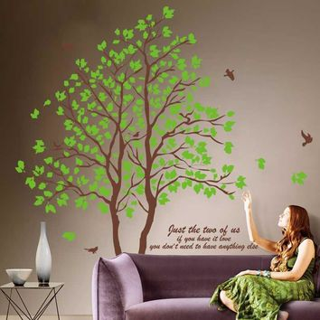 2Pieces 60CMX90CM DIY Large Green Tree Vinyl Wall Stickers Home Decor Living Room Bedroom Wallpaper Family Tree Wall Decal T0.2