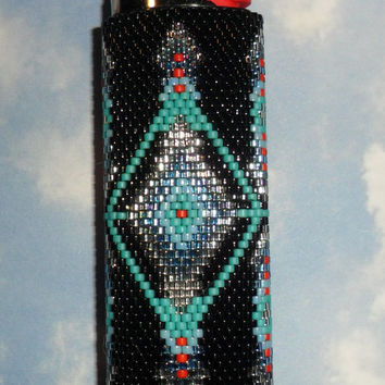 Desert Blues Beaded Lighter Cover