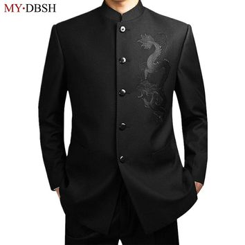 New 2018 Black Chinese Tunic Suit Men's Traditional Stand Collar Suits Apec Leader Costume Male Embroidery Dragon Totem Suits