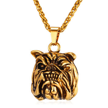 American Pit Bull Terrier Necklaces & Pendants Yellow Gold Color Stainless Steel Cute Animal Necklace Women Men Jewelry P014