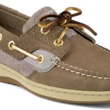 Sperry Top-Sider Bluefish Quilted 2-Eye Boat Shoe Griege, Size 9.5M  Women's Shoes