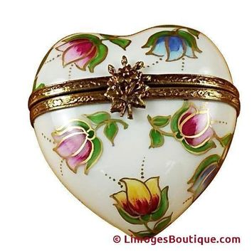 HEART - TULIPS LIMOGES BOX