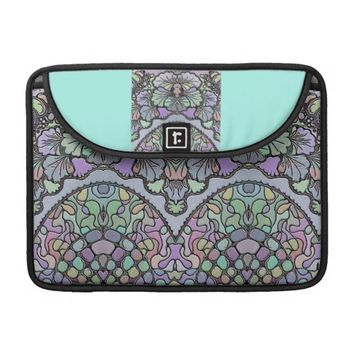 Old world purple pansy tile print mac book sleeve for MacBook pro
