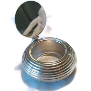 Vintage 1920's Art Deco Ribbed Silver Snuff Box with Mirror