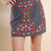 High Waist Floral Embroidered Mini Skirt