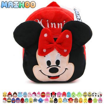 MAIHOO New Top Quality Minnie MIckey Plush Cartoon Toy Backpack Children Character School Bag Gift For Kids Mochila Infantil Hot
