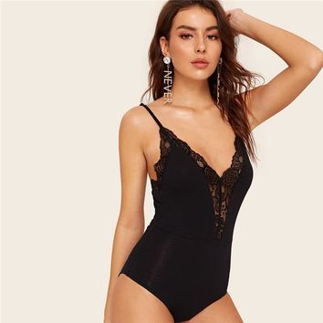 Plunging Lace Insert Cami Black Bodysuit Ladies V Neck Sexy Bodysuit Mid Waist Solid Sleeveless Women Bodysuit