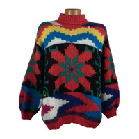 Ugly Christmas Sweater Vintage Tacky Holiday Party Fuzzy Mohair Snowflake Oversized