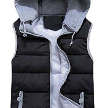 Pandapang Womens Outdoor Sleeveless Hooded Zip Up Puffer Jacket Vest