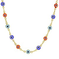 """14k Gold Plated Multicolor Greek Evil Eye Protection Necklace for Women 17"""""""