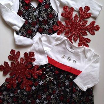 Christmas Twins Onesuit, Sibling Christmas Outfits, Matching Sibling Outfits, Brother Sister Outfit, Big Sister Little Brother