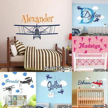 New Airplane Clouds Wall Decals Personalized Baby Name Vinyl Nursery Art Wall Stickers for Boy Kids Rooms Murals Home Decoration