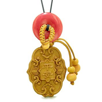 Feng Shui Lucky Symbols Car Charm or Home Decor Red Quartz Donut Protection Powers Magic Amulet