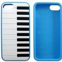 Protective Silicone Piano Key Back Case Cover Skin for iPhone 5 Sky Blue
