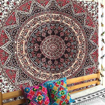 Polyester Wall Hanging Indian Mandala Tapestry 220X140cm Bohemian Throw Blanket Rug Mat Cover Bedspread Home Decor Accessories