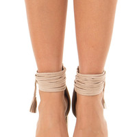 Taupe High Heeled Sandal with Strappy Ankle Details