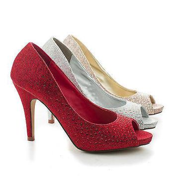 Eileen08 Red Sparkle By Styluxe, Peep Toe Rhinestone Studded Classic Pumps