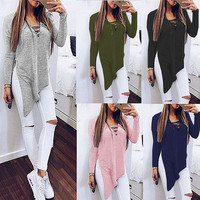 Sexy Lace Up Knitted Blouse Shirt 2016 Autumn Winter Long Sleeve V Neck Side Split Irregular Women Tops Casual  Plus Size Blouse