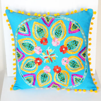 16x16 Inches Turquoise Turkish Traditional Decorative Pillow, Cushion Cover, Embroidered Pillow, Cotton Pillow Case