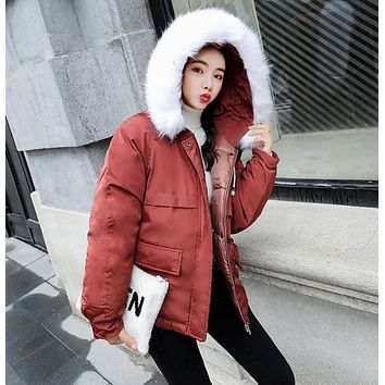 Womens Winter Short Puffy Coat with Hood in Red