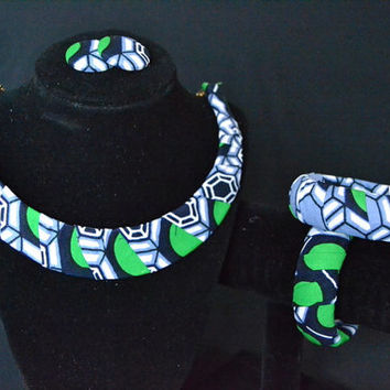 Green, Blue and White Ankara Earring