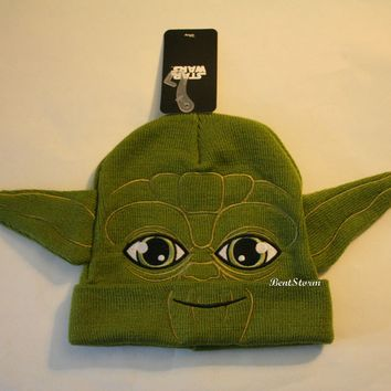 Licensed cool Star Wars JEDI YODA Face ADULT UNISEX Costume Watchman Beanie Plush Hat W/ Ears