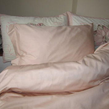 Pale pink Full or Queen duvet cover set - solid plain pink custom bedding