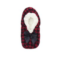 Houndstooth Sherpa Lined Women's Slippers l Teen Slippers