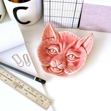 Vintage CAT FACE PLATE, Soap Dish, Spoon Holder, Pink Hold Catch All, Made in Portugal, Trinket Change Ring Holder, Pretty, Cat Lover