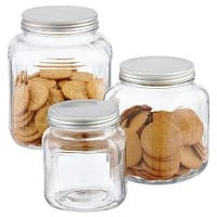 The Container Store > Glass Cracker Jars with Aluminum Lids