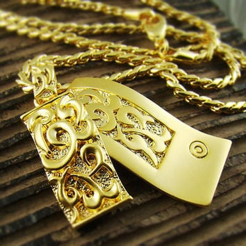 18k Gold Plated Mens ENGRAVED Celtic Patterns Double Square Pendant Chain Necklace P29