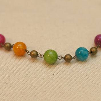 Bohemian Rainbow Row Necklace - Mixed Persian Jade Beads w/ Antiqued Brass Chain Necklace