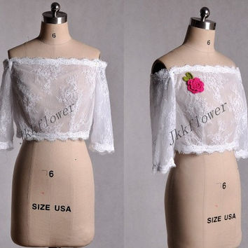 White/Ivory Lace Bridal Jacket Off Shoulder Half Sleeves Wedding Shawl Wraps