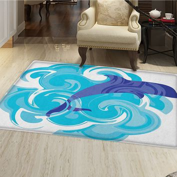 smallbeefly Dolphin Door Mat Small Rug Abstract Representation of Waves Aqua Life Soft Color Image Nature Scenes Bath Mat 3D Digital Printing Mat Violet Blue Sky Blue