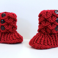 Christmas Booties, 0-6 Month Baby Crocodile Stitch Slipper Booties, Ready To Ship