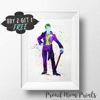 Joker Art Print Poster, Batman Villain Wall Art Nursery Decor Printable Watercolor Instant Download, Batman Party Favors, Batman Party Decor