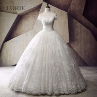 Luxury Latest Designs Wedding Dresses Victorian Ball Gown Boat Neck Short Sleeve Lace Off the Shoulder Real Picture Bridal Gown
